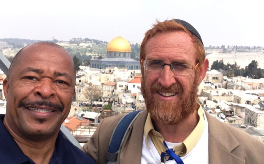 Pastor Keith Johnson & Rabbi Yehuda Glick in front of The Temple Mount, Jerusalem